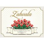 Voščilo, čestitka - rdeče vrtnice,  zahvala, bleščice/zlatotisk