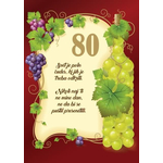 Voščilo, čestitka - Svet je poln čudes, rjava, vinska trta, 80 let - bleščice/zlatotisk