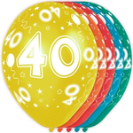 Baloni barvni iz lateksa, 40, 5kom, 3Ocm