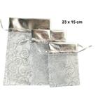 Vrečka dekorativna iz organze, srebrna, 23x15cm