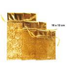 Vrečka dekorativna iz organze, zlata, 18x12cm