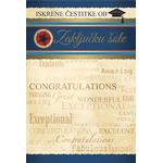 Voščilo, čestitka, Iskrene čestitke ob zaključku šole, zlatotisk, 16.5x24.5cm