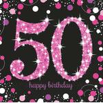 "Serviete iz papirja, ""50"", roza pikice, 16/1, 33x33cm"