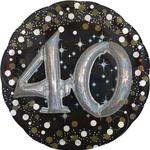 """Balon napihljiv, za helij, 3D Efekt, """"40"""", belo/zlate pikice, 81cm"""