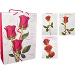 Darilna vrečka rdeče vrtnice z bleščicami srednja 26x32x12cm