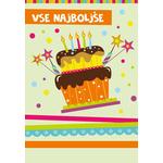 """Voščilnica za rojstni dan, svetlo zelena, """" Vse najboljše"""", torta s svečkami"""