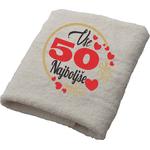 Brisača Vse najboljše 50 srčki 100x5Ocm 100% bombaž