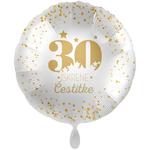 Balon napihljiv, za helij, 30 Iskrene čestitke, zlate pikice, 43 cm