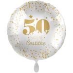 Balon napihljiv, za helij, 50 Iskrene čestitke, zlate pikice, 43 cm