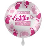 Balon napihljiv, za helij, Iskrene čestitke ob rojstvu, roza nogice, 43 cm