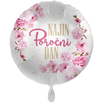 Balon napihljiv, za helij, Najin poročni dan, roza cvetovi43 cm