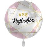 Balon napihljiv, za helij, Vse najboljše, bel roza z zlatimi črtami, 43 cm