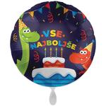 Balon napihljiv, za helij, Vse najboljše, torta in dinozavra, 43 cm