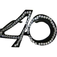 Dekoracija Očala Kamenčki 40 Let Črna