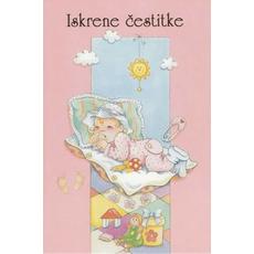 Voščilo, čestitka ob rojstvu dojenček na blazini, roza, ob rojstvu punčke