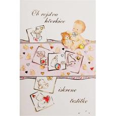 Voščilo, čestitka ob rojstvu dojenček na deki, roza, ob rojstvu hčerkice