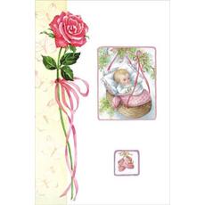 Voščilo, čestitka ob rojstvu dojenček z vrtnico