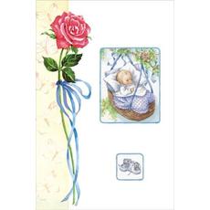 Voščilo, čestitka ob rojstvu vrtnica z dojenčkom v košari modra, ob rojstvu sina