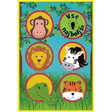 Voščilo, čestitka, otroška, živali živalskega vrta, modro-zelena