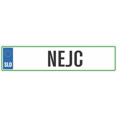 Registrska tablica - NEJC, 47x11cm