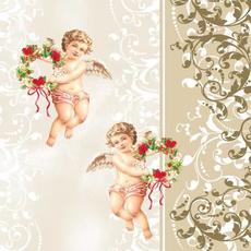 Papirnate serviete, zlate, angelčka, 33x33cm, 20kos.