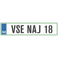 Registrska tablica - VSE NAJ 18, 47x11cm
