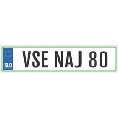 Registrska tablica - VSE NAJ 80, 47x11cm
