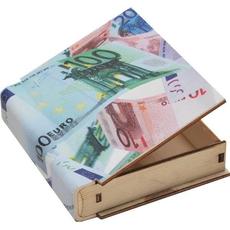 Skrinjica, motiv EURO, les, oblika knjige, 10.5x12x2.8 cm