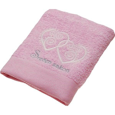 Brisača poročna svetlo roza, belo in srebrno vezenje, srečen zakon 100x5Ocm 100% bombaž