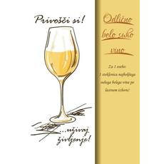 Voščilo, čestitka - Privošči si!, rumena, recept, Odlično belo suho vino, bleščice/zlatotisk