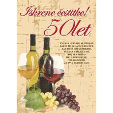 Voščilo, čestitka - steklenici vina, Iskrene čestitke, 50 let, bleščice/zlatotisk