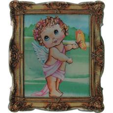 Magnet iz umetne mase, angel v okvirju, 5.5x7 cm