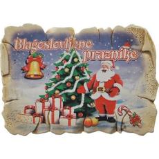 Magnet iz keramike, blagoslovljene praznike - božiček, 7.5x5.5 cm