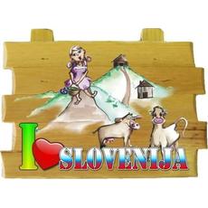 Slovenija, Tablica na vrvici, I love Slovenija - pašnik, 18x12cm