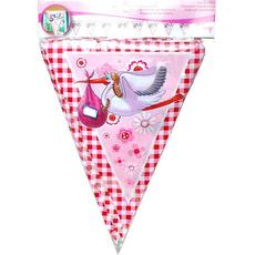 Girlanda zastavice, roza, 10 m