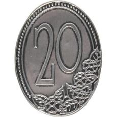 Kovinska ploščica 20 let 4,5x6,2cm