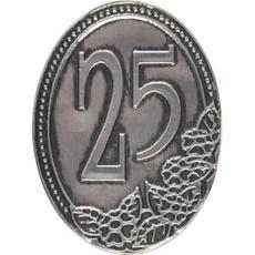 Kovinska ploščica 25 let 4,5x6,2cm