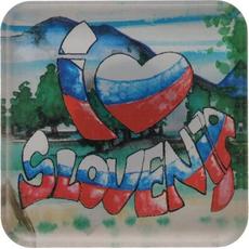 Slovenija, Magnet iz umetne mase, I love Slovenija, 5.5x5.5cm
