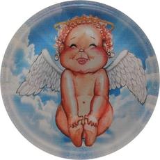 Magnet iz umetne mase, Angel, okrogel, 6 cm