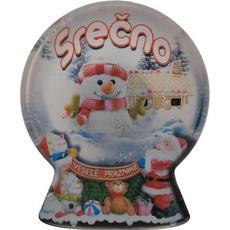 Magnet iz umetne mase, oblika krogle, vesele praznike in srečno novo leto, 6.5x8 cm