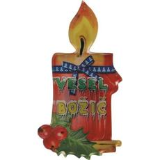 Magnet iz umetne mase, oblika sveče, vesel božič, 4.5x10 cm
