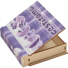 Skrinjica, za rojstvo, vijolična-čestitamo, les, oblika knjige, 10,5x12x2,8 cm
