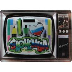 Slovenija, Magnet iz umetne mase, I love Slovenija - televizija, 7,5x5.5cm