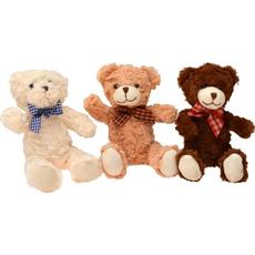 Plišasta igrača - medvedek s karirasto pentljo, 3 barve, 20 cm