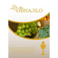 Voščilo, čestitka ob svetem obhajilu, za fante, grozdje in kelih