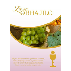 Voščilo, čestitka ob svetem obhajilu, za punce, grozdje in kelih