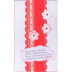 Voščilo čestitka ročno delo belo rdeča z verzom