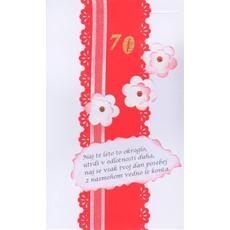 Voščilo čestitka ročno delo belo rdeča z verzom za 70 let