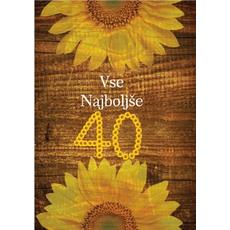 Voščilo, čestitka sončnice, za 40 let