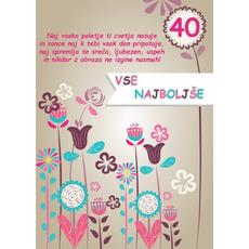 Voščilo, čestitka barvne rože za 40 let, naj vsako poletje ti cvetja nasuje